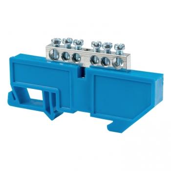 """Шина """"0"""" N (6x9мм) 6 отв. цинк синий изолятор на DIN-рейку EKF"""