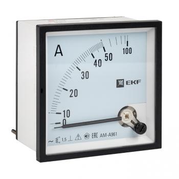 Амперметр AMA-961 аналоговый на панель (96х96) квадратный вырез 50А прямое подкл. EKF