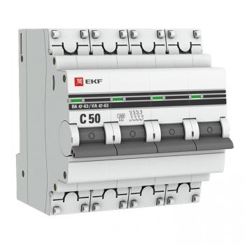 Автоматический выключатель 4P 50А (C) 4,5kA ВА 47-63 EKF PROxima