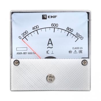 Амперметр AMA-801 аналоговый на панель (80х80) круглый вырез 1000А трансф. подкл. EKF