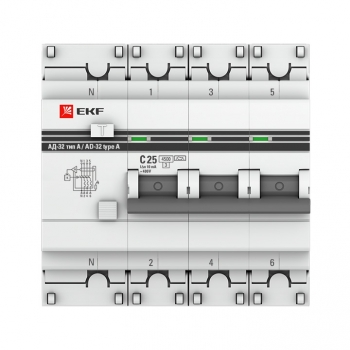 Дифференциальный автомат АД-32 3P+N 63А/100мА (тип А) EKF PROxima