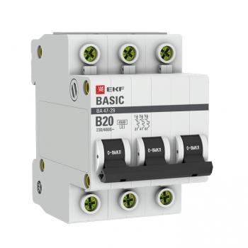 Автоматический выключатель 3P 20А (B) 4,5кА ВА 47-29 EKF Basic