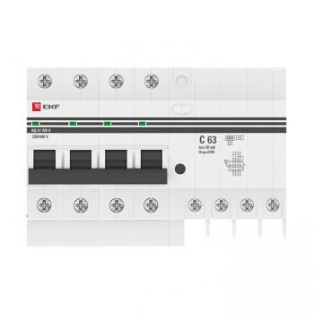Дифференциальный автомат АД-4 63А/ 30мА (хар. C, AC, электронный, защита 270В) 6кА EKF PROxima