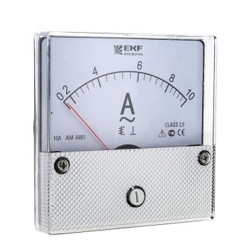 Амперметр AM-A801 аналоговый на панель (80х80) круглый вырез 100А трансф. подкл. EKF PROxima