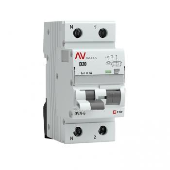 Дифференциальный автомат DVA-6 1P+N 20А (D) 100мА (A) 6кА EKF AVERES