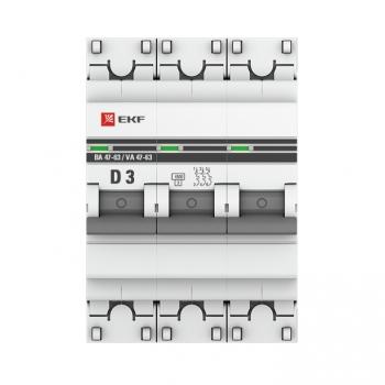 Автоматический выключатель 3P  3А (D) 4,5kA ВА 47-63 EKF PROxima