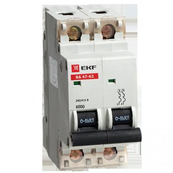 Автоматический выключатель ВА 47-63 6кА, 2P 40А (C) EKF