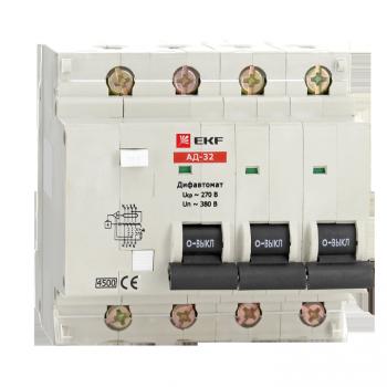Дифференциальный автомат АД-32 4P 16А/100мА (характеристика C, тип AC) 4,5кА EKF