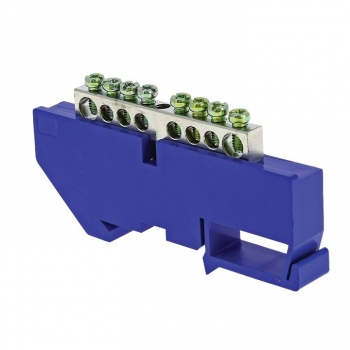 "Шина ""0"" N (6x9мм) 8 отв. цинк синий изолятор на DIN-рейку EKF PROxima"