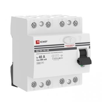 Устройство защитного отключения УЗО ВД-100 4P 40А/300мА (электромеханическое) EKF PROxima