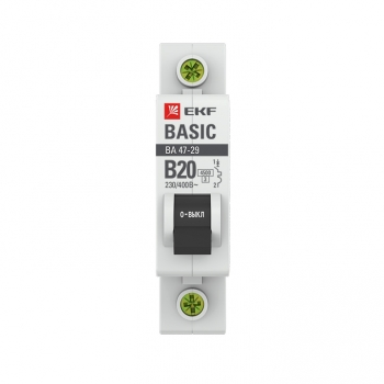 Автоматический выключатель 1P 20А (B) 4,5кА ВА 47-29 EKF Basic