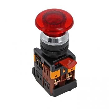 Кнопка AELA-22 красная с подсветкой NO+NC 380В Грибок EKF PROxima