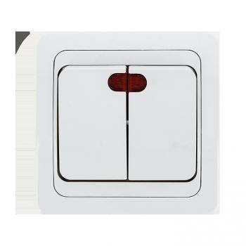 Лондон Выключатель 2-клавишный с индикатором 10А белый EKF PROxima