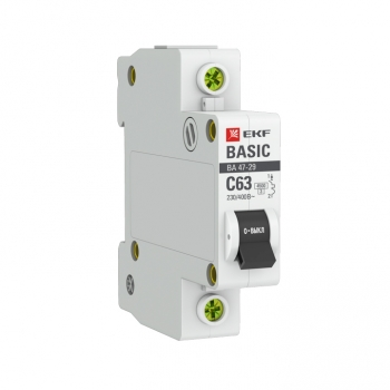 Автоматический выключатель 1P 63А (C) 4,5кА ВА 47-29 EKF Basic