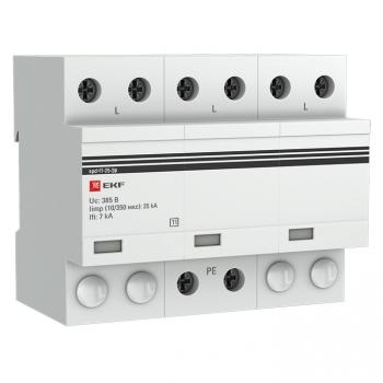 Устройство защиты от импульсных перенапряжений Тип 1 Iimp 25kA (10/350μs) 3P EKF