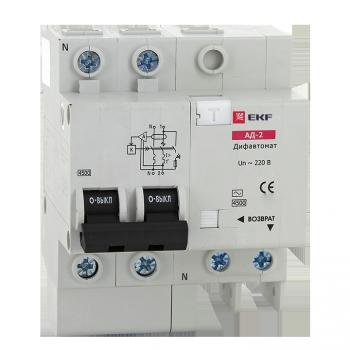 Дифференциальный автомат АД-2S 32А/100мА (характеристика C, тип AC) 4,5кА EKF