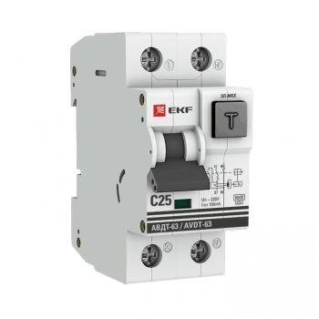 Дифференциальный автомат АВДТ-63 25А/100мА (характеристика C, эл-ех тип A) 6кА EKF PROxima