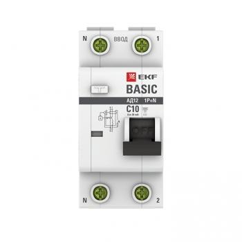 Дифференциальный автомат 1P+N 10А 30мА тип АС х-ка C эл. 4,5кА АД-12 EKF Basic