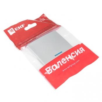 Валенсия лицевая панель выключателя 1-кл. с индикатором 10А сталь EKF PROxima