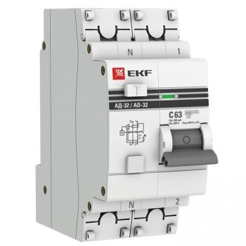 Дифференциальный автомат АД-32 1P+N 63А/300мА (хар. C, AC, электронный, защита 270В) 4,5кА EKF PROxima