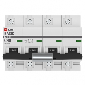 Автоматический выключатель 4P  40А (C) 10kA ВА 47-100 EKF Basic