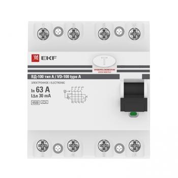 Устройство Защитного Отключения ВД-100 4P 63А/ 30мА (электр, тип А) EKF PROxima