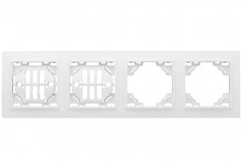 Минск Рамка 4-местная горизонтальная белая EKF  Basic