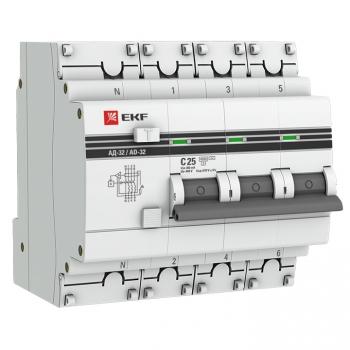 Дифференциальный автомат АД-32 3P+N 25А/300мА (хар. C, AC, электронный, защита 270В) 4,5кА EKF PROxima