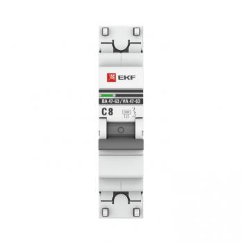 Автоматический выключатель 1P  8А (C) 4,5kA ВА 47-63 EKF PROxima