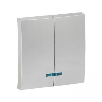 Валенсия лицевая панель выключателя 2-кл. с индикатором 10А сталь EKF PROxima