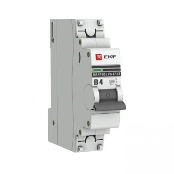 Автоматический выключатель 1P  4А (В) 4,5kA ВА 47-63 EKF PROxima