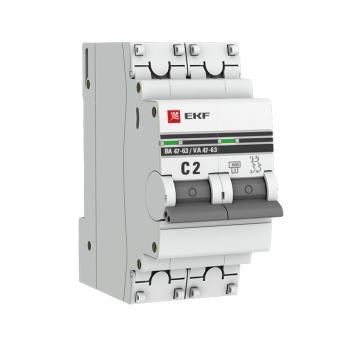 Автоматический выключатель 2P  2А (C) 4,5kA ВА 47-63 EKF PROxima