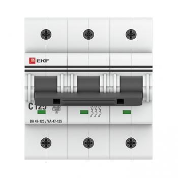 Автоматический выключатель 3P 125А (C) 15кА ВА 47-125 EKF PROxima