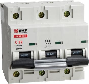 Автоматический выключатель ВА 47-100, 3P 31,5А (D) 10kA EKF