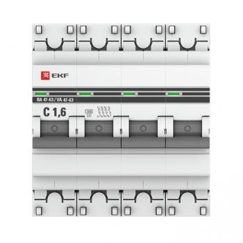 Автоматический выключатель 4P  1,6А (C) 4,5kA ВА 47-63 EKF PROxima