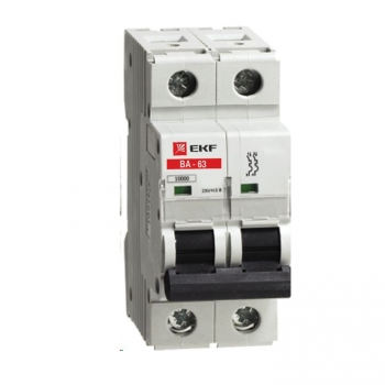 Автоматический выключатель ВА-63, 2P 1А (C) 10kA EKF