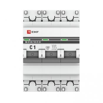 Автоматический выключатель 3P  1А (C) 4,5kA ВА 47-63 EKF PROxima