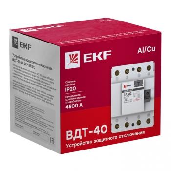 Устройство защитного отключения УЗО ВДТ-40 4P 63А/100мА (электронное) EKF Basic