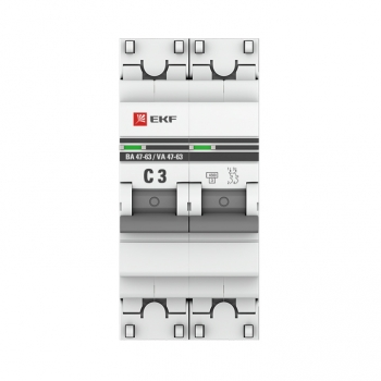 Автоматический выключатель 2P  3А (C) 4,5kA ВА 47-63 EKF PROxima