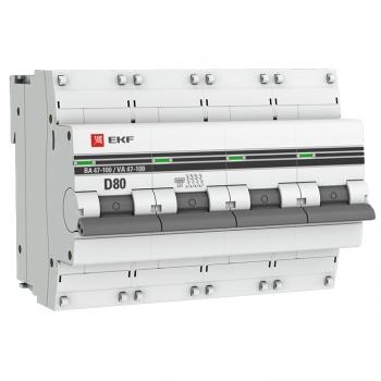 Автоматический выключатель 4P  80А (D) 10kA ВА 47-100 EKF PROxima