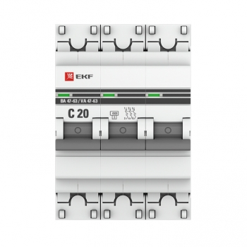 Автоматический выключатель 3P 20А (C) 4,5kA ВА 47-63 EKF PROxima