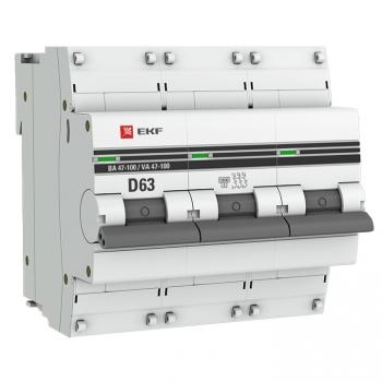 Автоматический выключатель 3P  63А (D) 10kA ВА 47-100 EKF PROxima