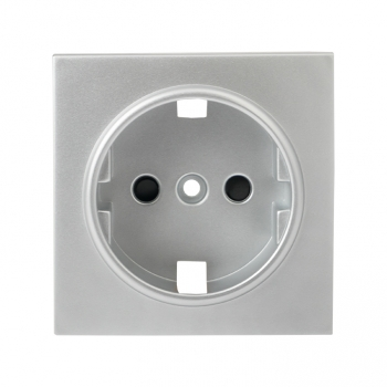 Валенсия лицевая панель розетки 1-местной с/з 16А сталь с защ. штор. EKF PROxima