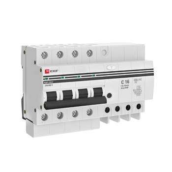 Дифференциальный автомат АД-4 16А/10мА (х-ка C, АС, электронный, защита 270В) 4,5кА EKF PROxima