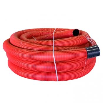 Труба гофрированная двустенная ПНД гибкая с протяжкой d160 мм (50 м) красная EKF