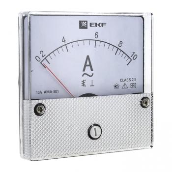 Амперметр AMA-801 аналоговый на панель (80х80) круглый вырез 600А трансф. подкл. EKF