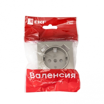 Валенсия лицевая панель розетки 1-местной с/з 16А кашемир с защ. штор. с 2 USB 2,1А EKF PROxima