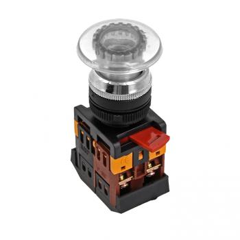 Кнопка AELA-22 белая с подсветкой NO+NC 380В Грибок EKF PROxima