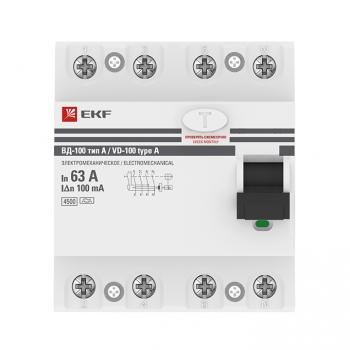 Устройство Защитного Отключения ВД-100 4P 63А/100мА (эл-мех, тип А) EKF PROxima