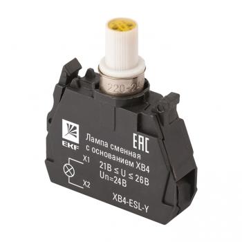 Лампа сменная c основанием XB4 желтая 24В EKF PROxima